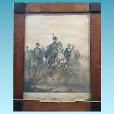 19th Century Signed French Walnut Framed  Lithograph Napoleons Army Victorious  in Germany