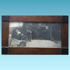 19th Century Signed French Lithograph Civilians at Waiting Room during Wartime