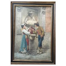 Vintage Wood Framed watercolor Signed Title Woman In Roma Circa 1940's