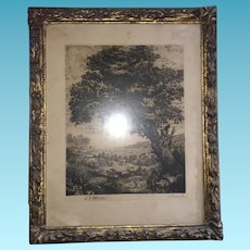 "French Artist Signed Etching outdoor Scene The ""Life-path of the Old Oak"" Circa 1929"