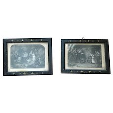 Early 20th Century  Pair of  Indoor & Outdoor French Provincial Etchings