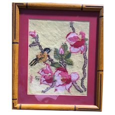 American Bamboo Framed Signed Needlepoint Picture of Birds & Flowers Circa 1950's