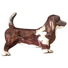 Vintage Hand Painted Porcelain Carved Hound Figurine Circa 1950's