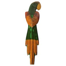 Mexican Art Paper Mache Decorated Green Macaw Parrot Signed P. Marins Circa 1950's