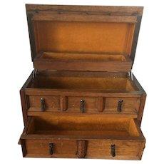 Vintage Royal Sealey Japanese Import Walnut Dresser Style Musical Jewelry Box