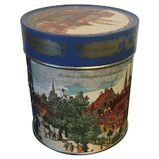 Vintage German Original E.Otto Schmidt Cylindrical Advertising Biscuit Tin Made in 1985