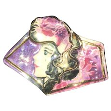 Vintage Art Deco Style Hand Painted Porcelain Brooch Pin
