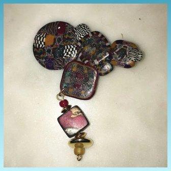 Costume Arts & Craft  Child's Hand Made Brooch Pin Circa 1970's