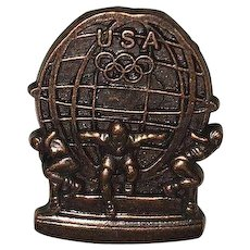 Vintage Bronze USA Olympic Pin By Aminco 36 USC #220506