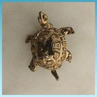 """Vintage Miniature Goldtone Carved Turtle with initial """"M"""" Brooch Pin Circa 1950's"""