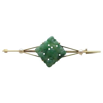 Edwardian 15ct Gold Carved Jadeite Brooch / Pin in Asprey Box