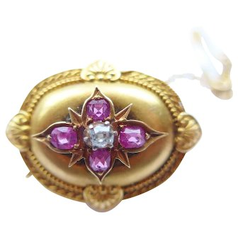 Antique Victorian 18ct Gold Ruby and Diamond Brooch