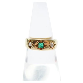 Art Deco 18K Gold Emerald and Diamond Ring London 1933 - UK N US 7