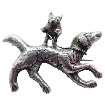Unusual Antique Victorian Solid Silver 925 Brooch of Dancing Bear Riding a Dog