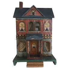 """Antique c. 1900 Bliss Doll House Lithograph Paper Over Wood 14 1/4"""" x 9 1/16"""""""