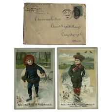 Two 1890s Victorian Trading Cards & Envelope Walter A. Wood Mowing & Reaping Machine Co.