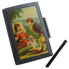 Antique Miniature Child's Slate Book Lithograph Cover