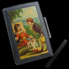 Antique Miniature Child's Slate Book Lithograph Cover