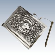 Antique c. 1902 English Sterling Silver Pocket Notebook Floral Repousse LOVELY!