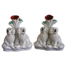 Pair Antique English Staffordshire Poodle Dog Spill Vases