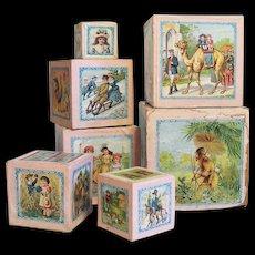 Antique Victorian Child's Nesting Blocks Wood & Paper Lithograph of Children & Animals