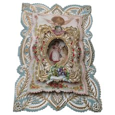 Old Victorian Dresden Paper Lace and Die Cut 3-Dimensional Layered Valentine Card