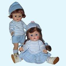 "Adorable Pair 1951 Strung Vintage Vogue Ginny Dolls ""Jim & Jan"" Brother & Sister Series"