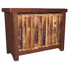 12 Miniature Knickerbocker Shakespeare Leather Books Original Wood Book Case