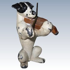"Vintage Miniature Painted Metal Dog Playing Violin 2"" Tall ADORABLE"