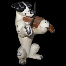 """Vintage Miniature Painted Metal Dog Playing Violin 2"""" Tall ADORABLE"""