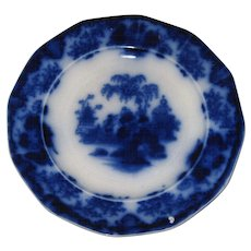 """Lovely Antique 1839-1846 English Flow Blue 8 1/2"""" Plate in SCINDE Pattern"""