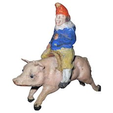 "UNUSUAL Victorian Antique Child's Toy Papier Mache Jester Punch Riding Pig 3 1/2"" x 3 1/2"""