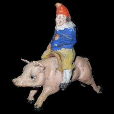 "UNUSUAL Victorian Antique Child's Toy Papier Mache Jester Punch Riding Pig 3 1/2"" x 3 1/2"""