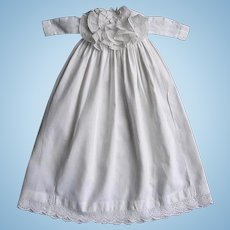 NICE Antique Doll Dress Gown w/ Removable Lace Jabot