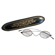 Antique Victorian Papier Mache Spectacles Case w/ Spectacles SUPER NICE!