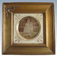 Ca. 1900 Gold Gilt Wood Frame w/ Porcelain Insert & Photo of Child Holding a Doll
