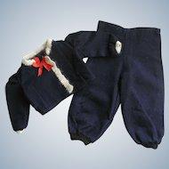 Adorable 2 Pc. Vintage Doll Ski Set Sweater w/ Angora Trim & Pants