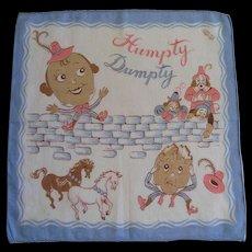 Vintage Child's Hankie Nursery Rhyme Humpty Dumpty