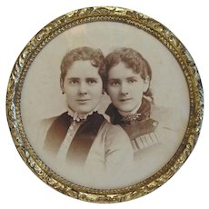 "Vintage 4 5/8"" Round Table Top Brass Picture Frame Old Photo of 2 Girls"