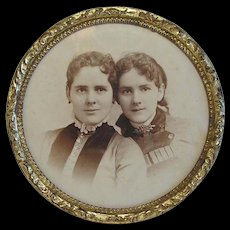 """Vintage 4 5/8"""" Round Table Top Brass Picture Frame Old Photo of 2 Girls"""