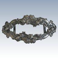 """Lovely Large Antique Art Nouveau Belt Buckle Silver Plate Repousse 4 7/8"""""""