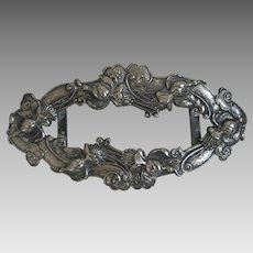 Lovely Large Antique Art Nouveau Belt Buckle Silver Plate Repousse 4 7/8""