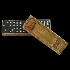 Victorian Box of Embossed Dominoes Lithograph Box Set Complete