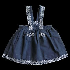 Adorable Vintage Navy Blue Doll Pinafore w/ White Embroidered Trim
