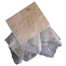 Lovely 1913 Antique Silk Hankie Handkerchief w/ Provenance Excellent