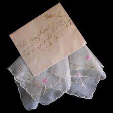 Lovely 1913 Antique Silk Hankie Handkerchief w/ Provenance Excellent