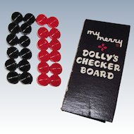 "Miniature Doll Checker Board Game ""My Merry Dolly's Checker Board"""