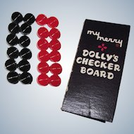 "Miniature Doll Checker Board Game ""My Merry Dolly's Checker Board"""