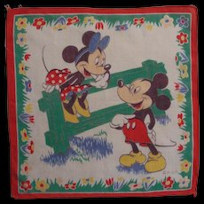 Vintage Mickey Mouse & Minnie Mouse Child's Hankie Signed W.D.P