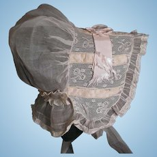 Vintage Factory Original Organdy Baby Bonnet Lace & Ribbon Inserts Great For Large Dolls